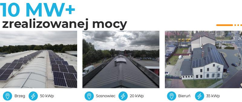 Banner z informacją o mocy 2,5 MW zrealizowanych instalacji fotowoltaicznych dla firm i przykładowymi realizacjami